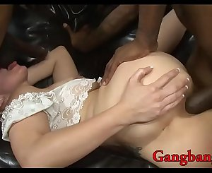 Curly blond hair babe analyzed by big black cocks on sofa
