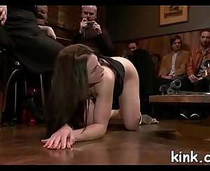 Hot pretty gal busted for glory slot and gets bound and fucked.